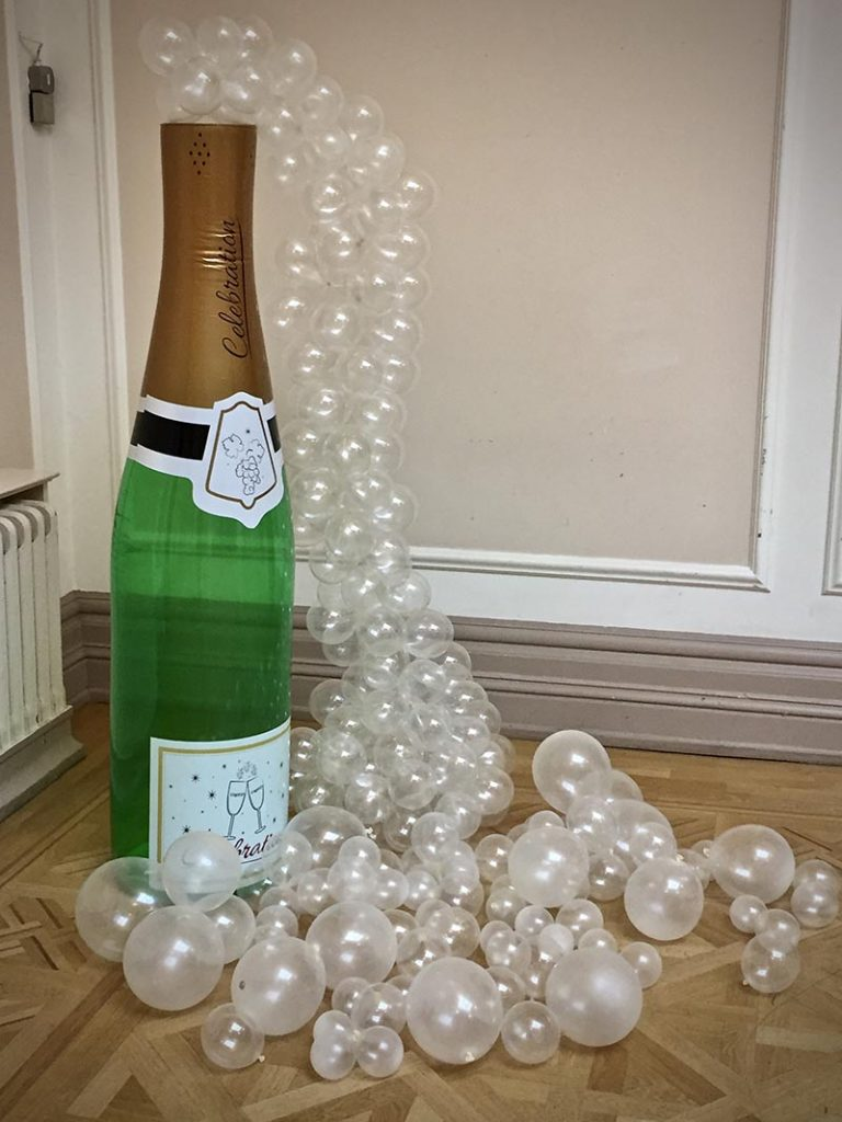Champagne bottle and bubbles