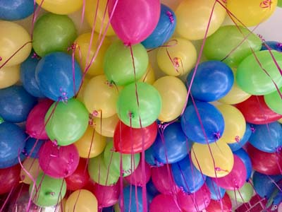 multi-coloured balloon cluster