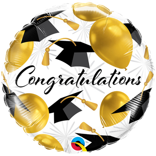 black and gold graduation balloon