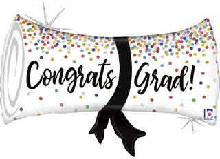 congrats grad balloon scroll