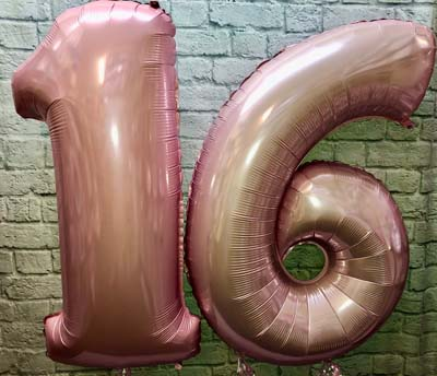 large balloon numbers rose gold