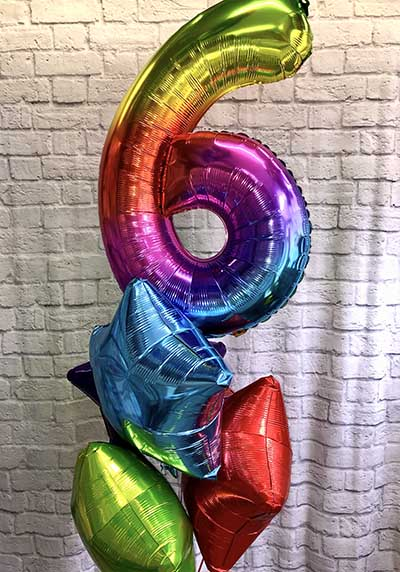 multi coloured birthday balloons