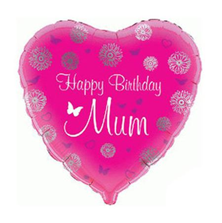 pink heart happy birthday mum