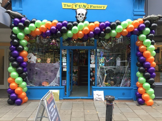 colourful arch around our shop