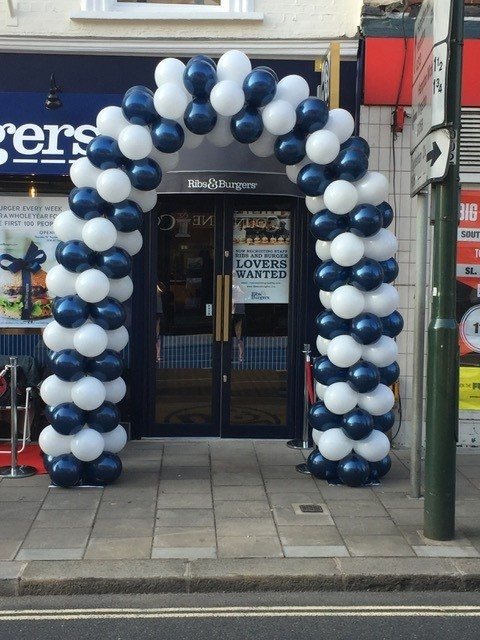 blue and white door arch